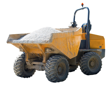 dumptruck: Forward tipping dumper truck with dents and scratches from use on a construction site on an isolated white background with a clipping path