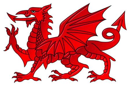 クリッピング パスと孤立した白い背景にベベル効果を持つウェールズのドラゴン 写真素材