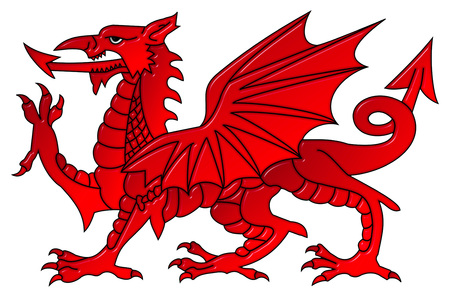 Welsh dragon with a bevel effect on an isolated white background with a clipping path Stock Photo