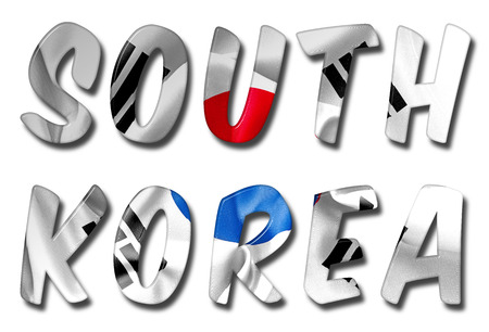 scrunch: South Korea word 3D illustration with a flag texture on an isolated white background with a clipping path for with and without the shadow