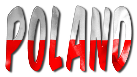 crease: Poland word 3D illustration with a flag texture on an isolated white background with a clipping path for with and without the shadow Stock Photo