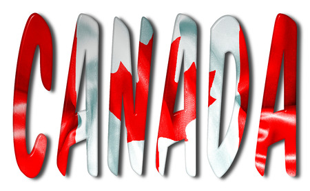 canadian flag: Canada word 3D illustration with a flag texture on an isolated white background with a clipping path for with and without the shadow Stock Photo