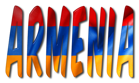 Armenia word 3D illustration with a flag texture on an isolated white background with a clipping path for with and without the shadow Stock Photo