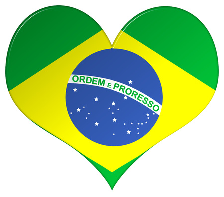bevel: Brazil flag heart shape with a bevel effect on an isolated white background with a clipping path Stock Photo