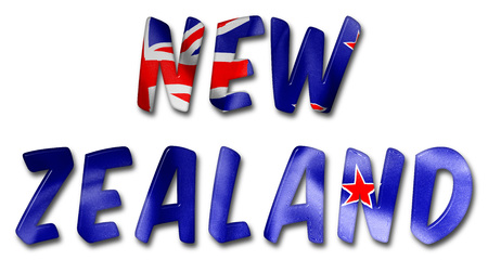 crease: New Zealand word with a flag texture on an isolated white background with a clipping path for with and without the shadow