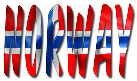 crease: Norway word with a flag texture on an isolated white background with a clipping path for with and without the shadow
