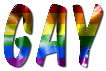 Gay word illustration with a rainbow flag texture on an isolated white background with a clipping path