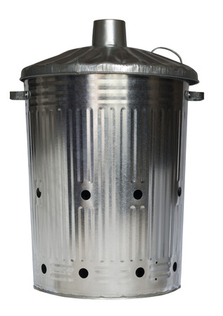 galvanised: Galvanised incinerator gardening dustbin on an isolated white background with a clipping path Stock Photo