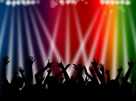Dancing silhouette crowd illustration with hands raised and white spotlights against a multi colour background