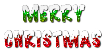 covered: Merry Christmas 3D illustration message in green and red letters covered in snow on an isolated white background