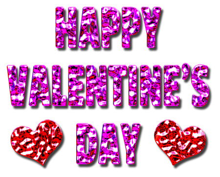 Happy Valentines day 3D illustration message with a pink and red metallic effect with two hearts Stock Photo