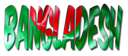 Bangladesh word 3D illustration with a flag texture on an isolated white background