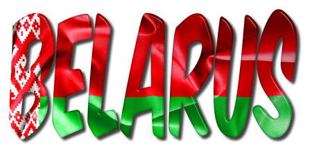 Belarus word 3D illustration with a flag texture on an isolated white background Stock Photo