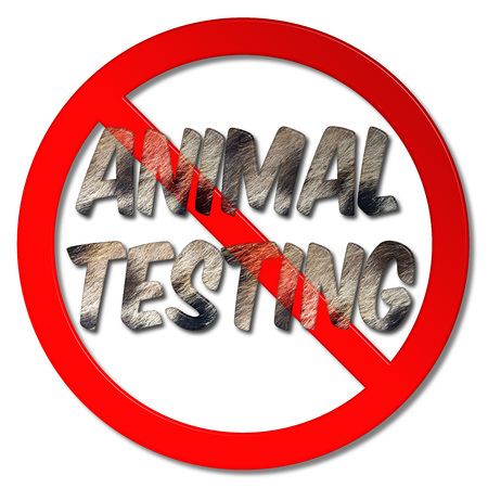 No animal testing forbidden sign with fur words on an isolated white background