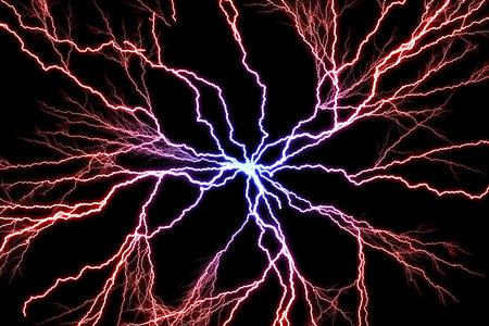 Décharge électrique des boulons de l'illustration de l'éclair de tons bleus à rouges sur un fond sombre Banque d'images - 75322673