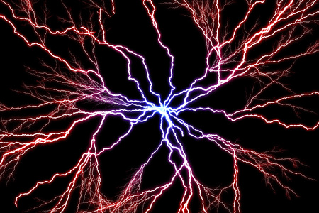 Electrical discharge of bolts of lightning illustration from blue to red tones against a dark background