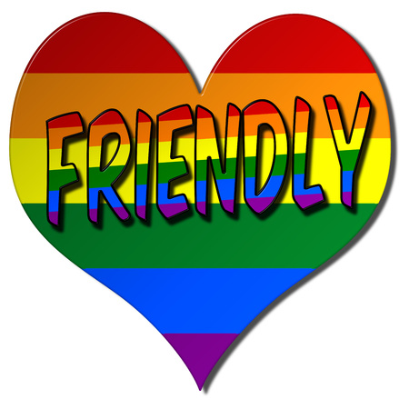 Gay friendly love heart 3D illustration symbol to advertise freedom and equality on an isolated white background