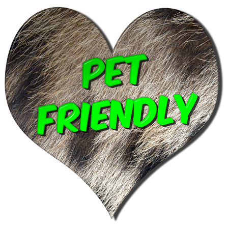 Pet friendly love heart 3D illustration symbol to advertise animals are welcome on an isolated white background