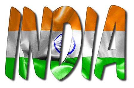 India word 3D illustration with a flag texture on an isolated white background