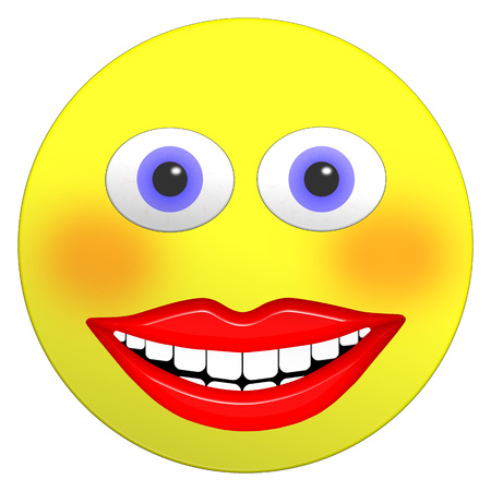 Smiley female emoji 3D illustration with big bright smile rosy cheeks and big blue eyes Stock Photo