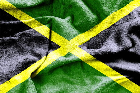 jamaican: Jamaica flag with a grungy worn fabric texture 3D illustration