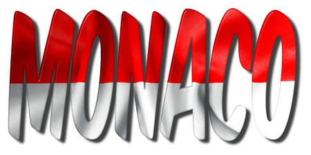 Monaco word 3D illustration with a flag texture on an isolated white background Banco de Imagens