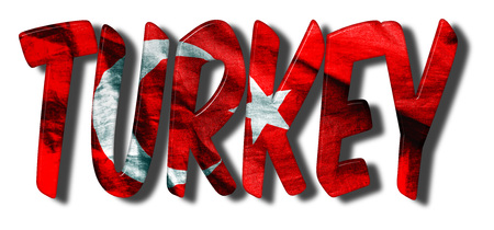 Turkey word flag texture 3D illustration on an isolated white background Stock fotó - 86178394