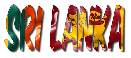 Sri Lanka word flag texture 3D illustration on an isolated white background