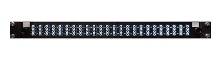 Fibre optic networking patch panel with 48 high density LC ports from a front view for use as a communications cabinet template on an isolated white background Archivio Fotografico