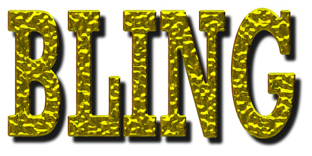 Bling word 3D illustration with gold metallic effect on an isolated white background