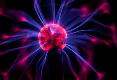 Plasma globe with red and blue arcs