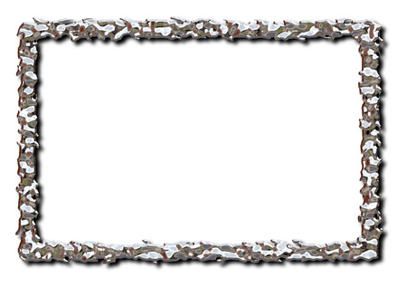 Liquid metal rectangle shaped 3D illustration frame on an isolated white background