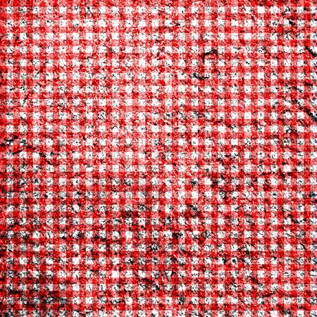Distressed red and white classic gingham illustration pattern