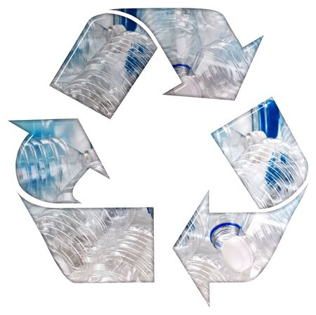 Recycle symbol with plastic single use bottles and a bevel effect 3D illustration on an isolated white background