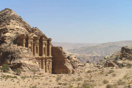 Monastery at Petra, Jordan. Stock Photo