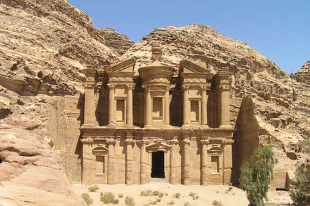 Monastery at Petra closeup, Jordan.