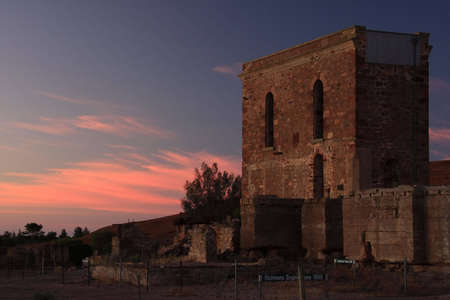Richmans Engine House at Sunset, Moonta Mines, South Australia  photo