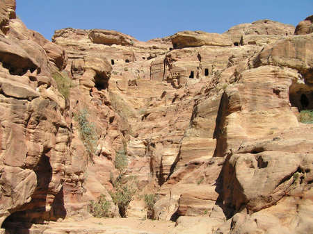 Cliffs beside walking trail to monastery at Petra, Jordan