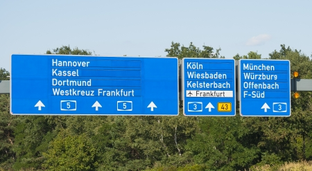 orte: Autobahnschild Stock Photo