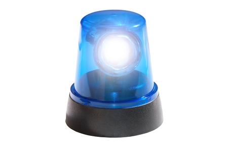 Blue light isolated on white background photo
