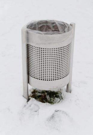 Bin on a snowy day photo