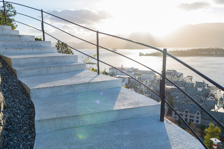 viewpoint: Stairs of the viewpoint, lesund Stock Photo