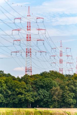 torres de alta tension: Pylons near Darmstadt (germany) Foto de archivo