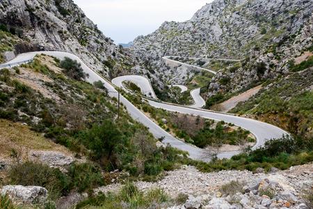 Serpentine road direction sa calobra, majorca