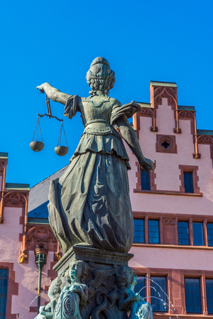 justitia: Justitia monument in Frankfurt with clear sky