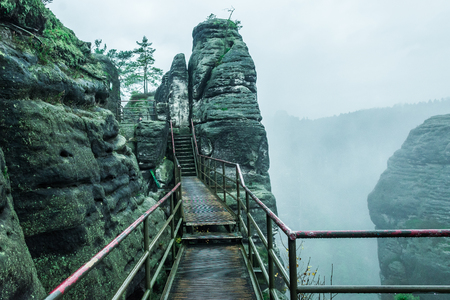Old Bridge at sandstone mountains in dresden