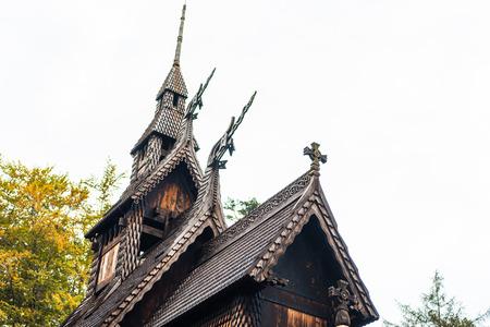Norwegian wooden church near Bergen (Stabkirche Fantoft)