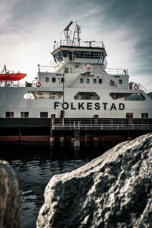 Norwegian Ferry on the Fjord in Volda, cearly morning (Folkestad, Alesund)