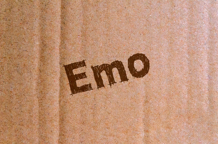Emo - carton, cardboard with brown letters