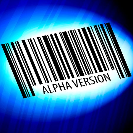 Alpha version - barcode with blue Background Stock Photo